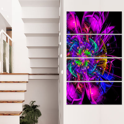 Ideal Fractal Flower Digital Art In Purple FloralCanvas Art Print - 4 Panels