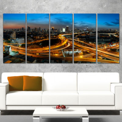 Illuminated Highway In Bangkok Cityscape Wrapped Canvas Print - 5 Panels
