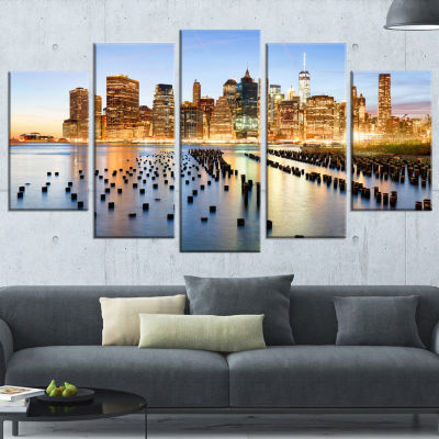 Illuminated New York Skyscrapers Cityscape WrappedCanvas Print - 5 Panels