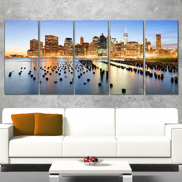 Designart Illuminated New York Skyscrapers Cityscape WrappedCanvas Print - 5 Panels