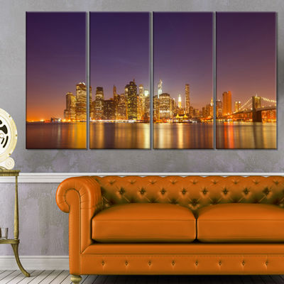 Designart Illuminated Nyc Downtown Buildings Cityscape Canvas Print - 4 Panels