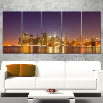 Illuminated Nyc Downtown Buildings Cityscape Canvas Print - 5 Panels