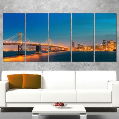 Designart Illuminated San Francisco Skyline Cityscape Wrapped Canvas Print - 5 Panels