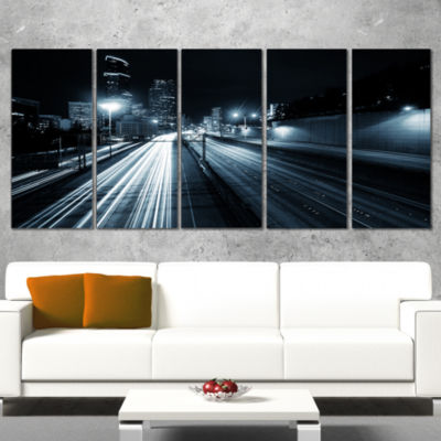 Designart Illuminated Traffic Trail In Downtown Seattle Cityscape Wrapped Canvas Print - 5 Panels