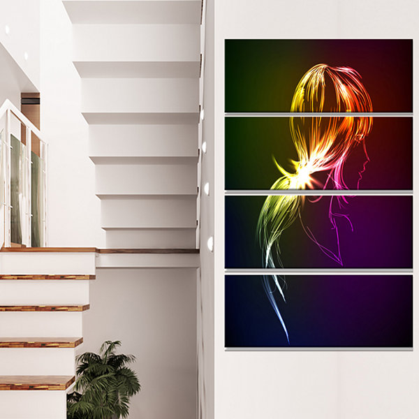 Designart Illuminating Fractal Girl S Head Large Abstract Canvas Wall Art - 4 Panels