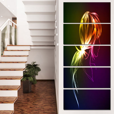 Designart Illuminating Fractal Girl S Head Large Abstract Canvas Wall Art - 5 Panels