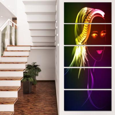 Designart Illuminating Girl S Head Fractal ModernPortrait Canvas Art - 4 Panels