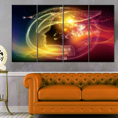 Designart Illuminating Human Head Fractal AbstractCanvas Wall Art Print - 4 Panels