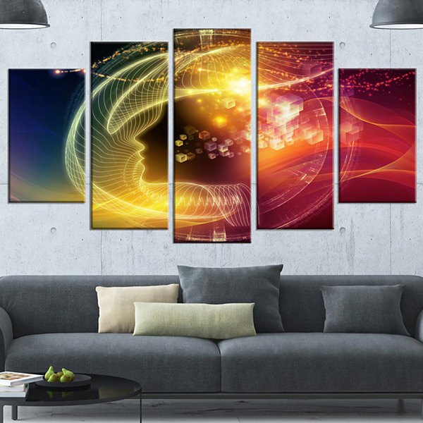 Designart Illuminating Human Head Fractal Contemporary Canvas Wall Art Print - 5 Panels