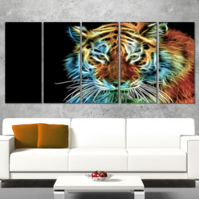 Illuminating Tiger Head View Contemporary Animal Art Canvas - 4 Panels