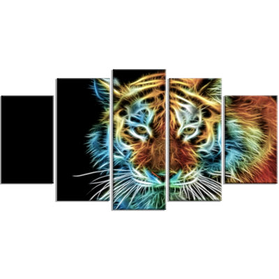 Designart Illuminating Tiger Head View Contemporary Animal Art Wrapped Canvas - 5 Panels