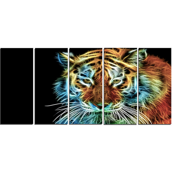 Illuminating Tiger Head View Contemporary Animal Art Canvas - 5 Panels