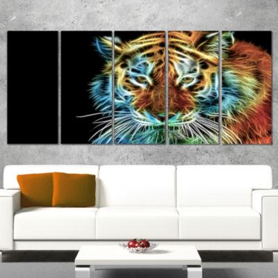 Designart Illuminating Tiger Head View Contemporary Animal Art Canvas - 5 Panels
