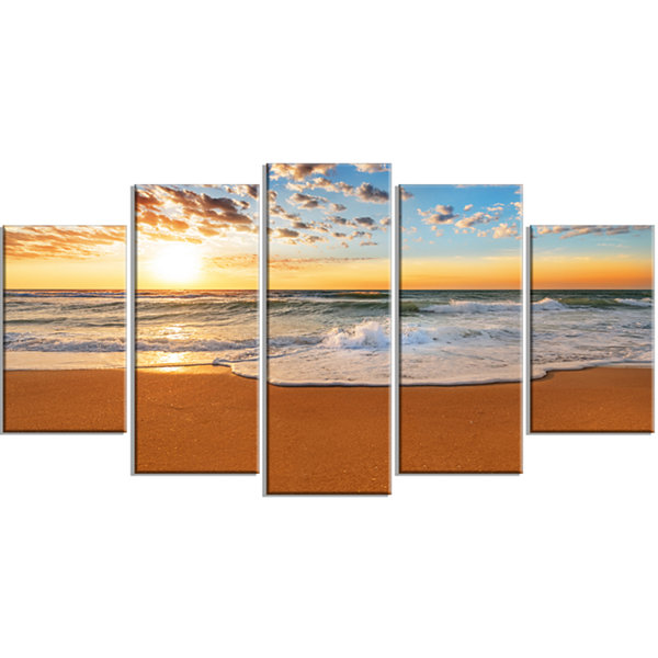 Designart Incredible Seashore Under Cloudy Sky Seascape Wrapped Canvas Art Print - 5 Panels