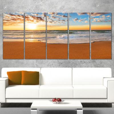 Designart Incredible Seashore Under Cloudy Sky Seascape Canvas Art Print - 5 Panels