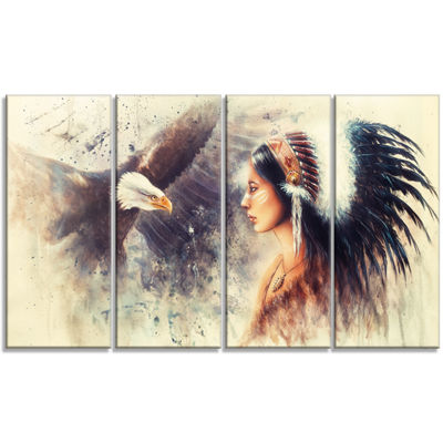 Designart Indian Woman And Eagle Portrait Canvas Art Print -4 Panels