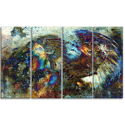 Designart Indian Woman Collage With Lion Woman Canvas Print- 4 Panels