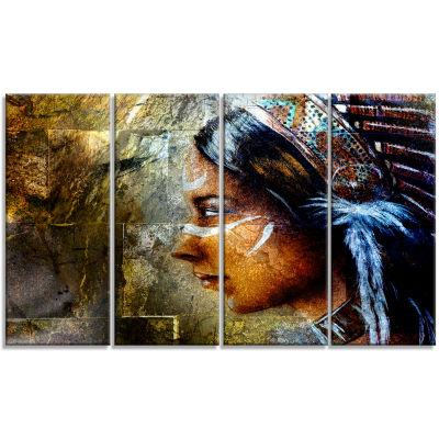 Indian Woman With Headdress Portrait Canvas Art Print - 4 Panels
