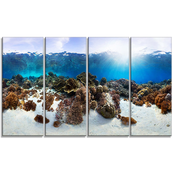 Indonesia Underwater Panorama Photography Canvas Art Print - 4 Panels