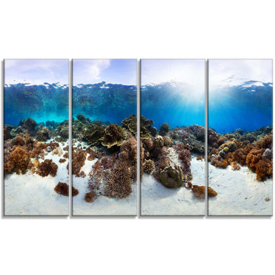 Designart Indonesia Underwater Panorama Photography Canvas Art Print - 4 Panels