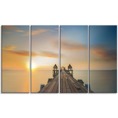 Designart Infinity Bridge Seascape Photography Canvas Art Print - 4 Panels