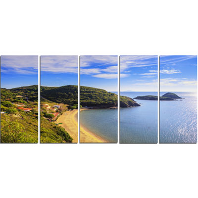 Designart Innamorata Beach And Gemini Islets ExtraLarge Seashore Canvas Art - 5 Panels