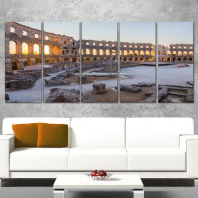 Inside Ancient Roman Amphitheater Landscape CanvasArt Print - 4 Panels