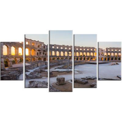 Designart Inside Ancient Roman Amphitheater Landscape Wrapped Canvas Art Print - 5 Panels