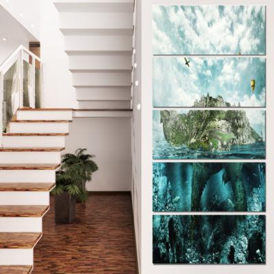 Designart Island Like Large Fantasy Turtle AnimalArt CanvasPrint - 4 Panels