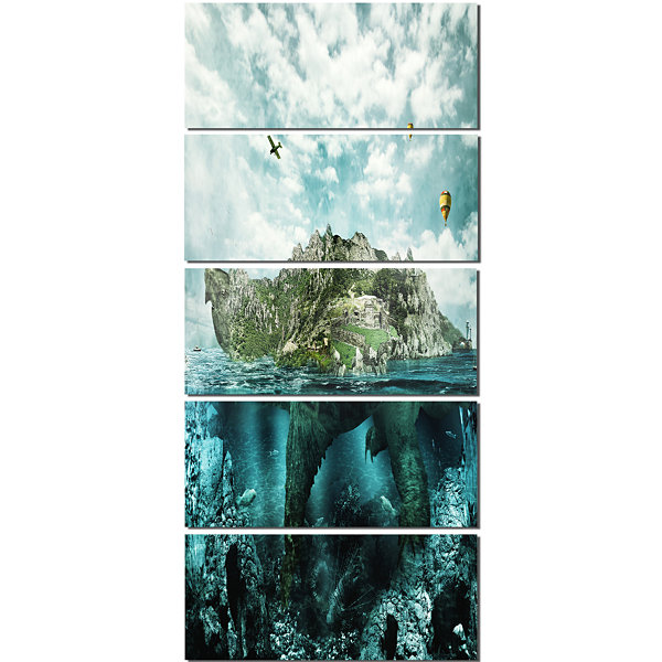 Designart Island Like Large Fantasy Turtle AnimalArt CanvasPrint - 5 Panels