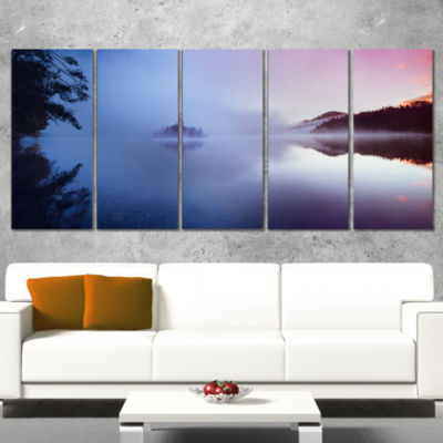 Designart Island With Old Church In Bled City Landscape Artwork Canvas - 5 Panels