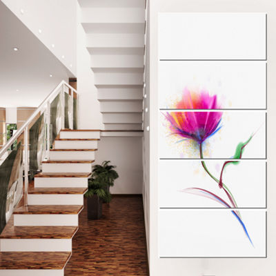 Designart Isolated Purple Poppy Flower Large Flower Canvas Wall Art - 5 Panels