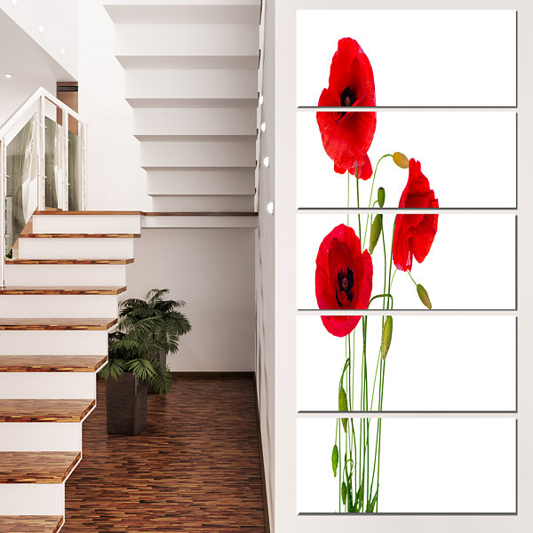 Designart Isolated Red Poppy Flowers Floral CanvasArt Print- 5 Panels