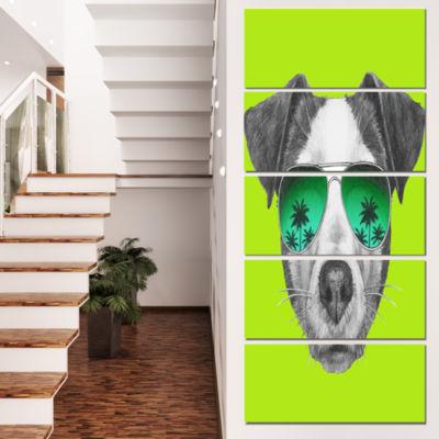 Designart Jack Russell In Green Glasses Contemporary AnimalArt Canvas - 5 Panels