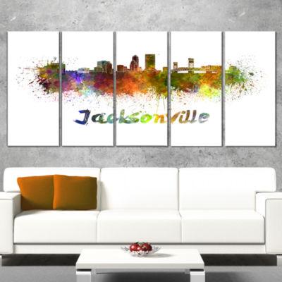 Designart Jacksonville Skyline Cityscape Canvas Art Print -4 Panels