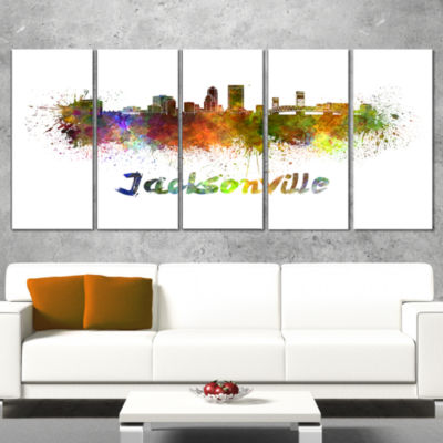 Designart Jacksonville Skyline Cityscape Canvas Art Print -5 Panels