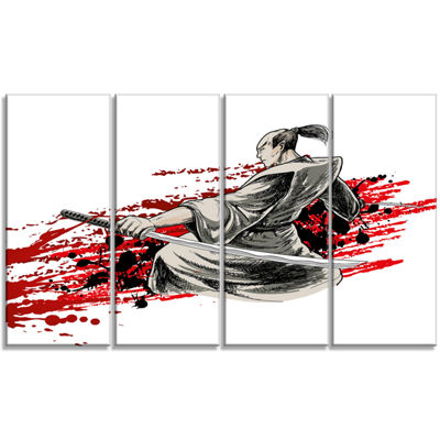 Designart Japan Warrior Japanese Canvas Artwork -4 Panels
