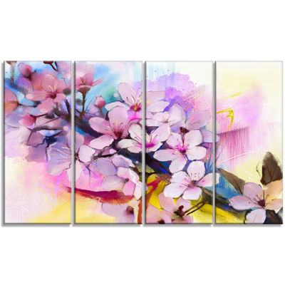 Designart Japanese Cherry Blossoms Watercolor Floral CanvasArt Print - 4 Panels