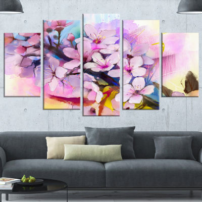 Designart Japanese Cherry Blossoms Watercolor Floral WrappedCanvas Art Print - 5 Panels