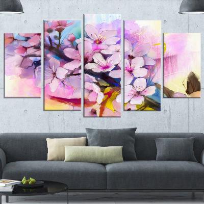 Designart Japanese Cherry Blossoms Watercolor Floral CanvasArt Print - 5 Panels