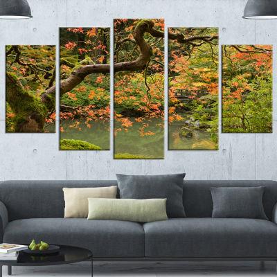 Designart Japanese Garden Fall Season Large Landscape Wrapped Canvas Art - 5 Panels