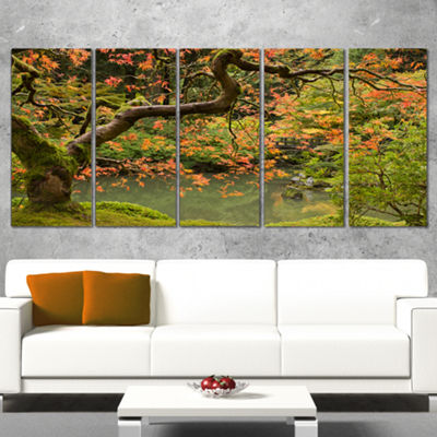 Designart Japanese Garden Fall Season Large Landscape CanvasArt - 5 Panels