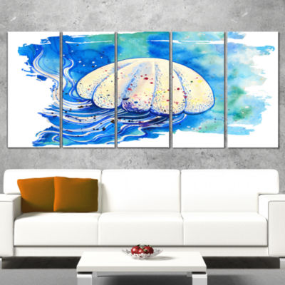 Designart Jellyfish Watercolor Painting Abstract Wrapped Canvas Art Print - 5 Panels