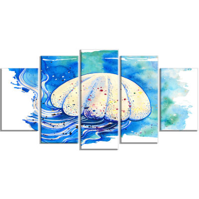 Jellyfish Watercolor Painting Abstract Wrapped Canvas Art Print - 5 Panels