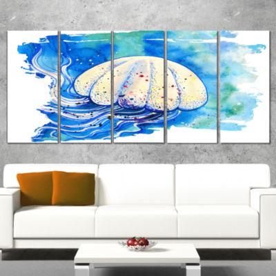 Designart Jellyfish Watercolor Painting Abstract Canvas ArtPrint - 5 Panels