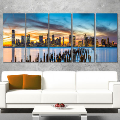 Designart Jersey City Panorama At Sunset CityscapeWrapped Canvas Print - 5 Panels