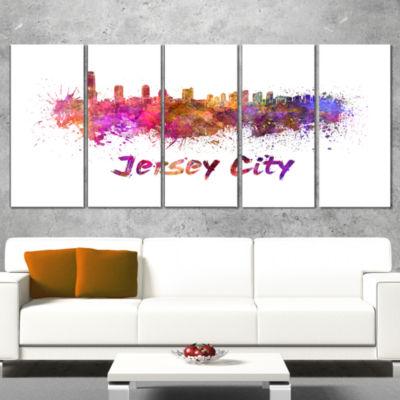 Designart Jersey City Skyline Cityscape Canvas Artwork Print- 5 Panels