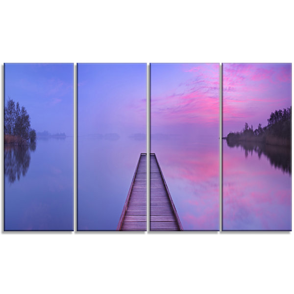 Jetty In A Dawn Lake Wooden Sea Bridge Canvas WallArt - 4 Panels