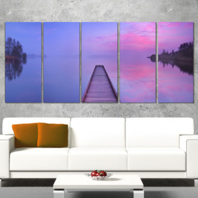 Designart Jetty In A Dawn Lake Wooden Sea Bridge Wrapped Canvas Wall Art - 5 Panels