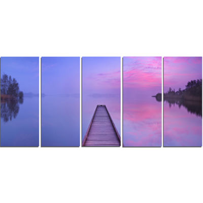 Designart Jetty In A Dawn Lake Wooden Sea Bridge Canvas WallArt - 5 Panels